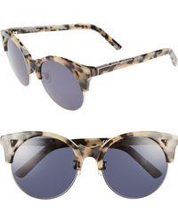 Pared Eyewear - Up & At Em 55mm Retro Sunglasses - Cookies/ Cream/ Silver Grey - Lyst