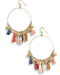 Chan Luu - Tassel & Cowry Shell Hoop Earrings - Lyst