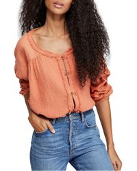 Free People Moving Mountains Button-up Top