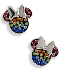 Disney - Minnie Multicolor Crystal Pave Stud Earrings - Lyst