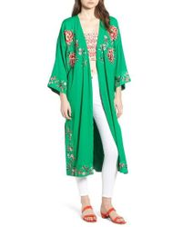TOPSHOP - Floral Kimono - Lyst