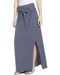 Caslon - Caslon Tie Front Cotton Maxi Skirt - Lyst