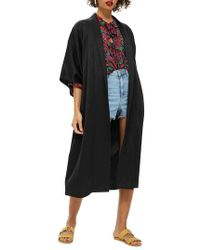 TOPSHOP - Longline Fringe Kimono - Lyst