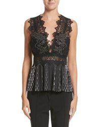 Yigal Azrouël | Studded Coral Embroidered Pleated Top | Lyst