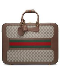 Gucci - Large Echo Gg Supreme Canvas & Leather Suitcase - Lyst