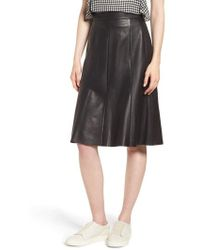 Nordstrom - Fit & Flare Leather Skirt - Lyst