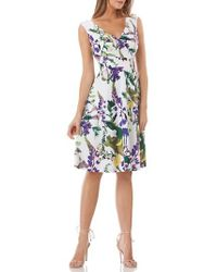 Kay Unger | Floral Fit & Flare Dress | Lyst