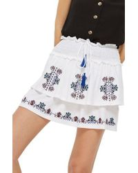 TOPSHOP | Embroidered Tiered Miniskirt | Lyst