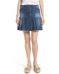 RED Valentino - Ruffle Denim Miniskirt - Lyst