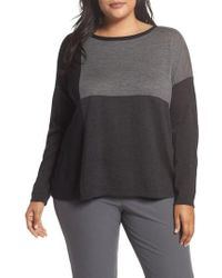Eileen Fisher | Colorblock Boxy Merino Wool Sweater | Lyst