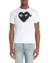 Play Comme des Garçons | Graphic T-shirt With Heart Applique | Lyst