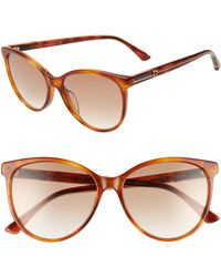 a955666d08e Gucci - 57mm Cat Eye Sunglasses - Blonde Havana  Borwn Gradient - Lyst