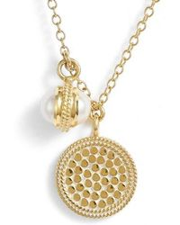 Anna Beck - Double Pearl Disc Pendant Necklace - Lyst