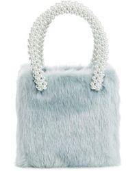 Shrimps | Una Check Faux Fur Bag With Imitation Pearl Handles | Lyst