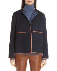 Lafayette 148 New York - Rayen Leather Trim Reversible Jacket - Lyst