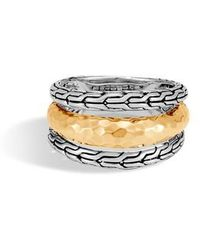 John Hardy | Classic Chain Hammered Ring | Lyst