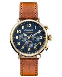 INGERSOLL WATCHES - Ingersoll Trenton Chronograph Leather Strap Watch - Lyst