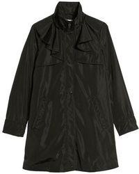 Via Spiga - Ruffle Detail Packable Raincoat, Black - Lyst
