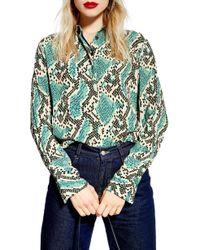 1b11a5950304 TOPSHOP Mixed Plaid Oversized Shirt - Lyst