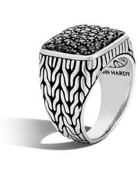 John Hardy - Sterling Silver Classic Chain Black Sapphire Signet Ring - Lyst