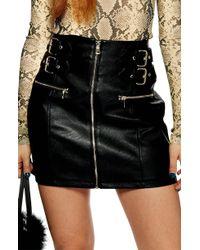 TOPSHOP - Faux Leather Buckle Zip Miniskirt - Lyst