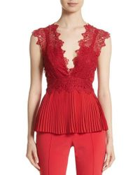 Yigal Azrouël | Coral Embroidered Pleated Top | Lyst