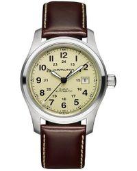 Hamilton - Khaki Field Automatic Leather Strap Watch - Lyst