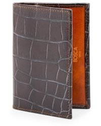 Bosca - Embossed Leather Card Case - Lyst