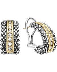 Lagos - 'caviar' Diamond Hoop Earrings - Lyst