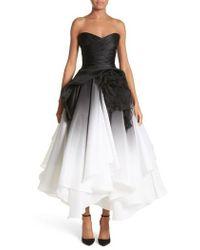 Marchesa - Ombre Strapless Tea Length Dress - Lyst