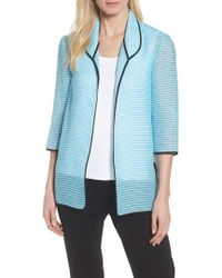 Ming Wang - Textured Knit Three Quarter Sleeve Jacket - Lyst