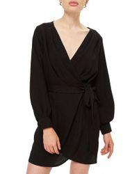 TOPSHOP - Bubble Satin Wrap Dress - Lyst