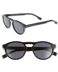 BOSS - 50mm Polarized Round Sunglasses - - Lyst
