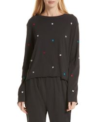 The Great - The Long Sleeve Embroidered Crop Tee - Lyst
