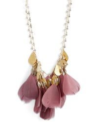 Serefina - Crystal Feather Bib Necklace - Lyst