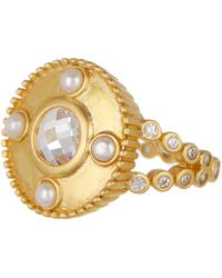 Freida Rothman - 14k Gold Plated Sterling Silver Audrey Cz & 2.5mm Pearl Studded Cocktail Ring - Size 7 - Lyst