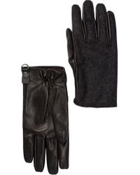 DIESEL - Guquil Leather & Wool Gloves - Lyst