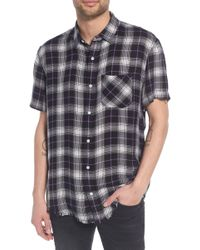 The Rail - Drapey Plaid Short Sleeve Shirt - Lyst