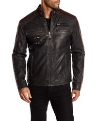 Affliction - Faux Leather Street Fighter Moto Patch Jacket - Lyst