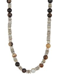 Link Up - Tan Shell Silver Discs Necklace - Lyst