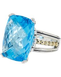 Lagos - Sterling Silver 18k Gold Blue Topaz Ring - Size 7 - Lyst
