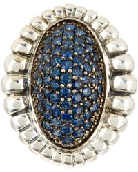 Lagos - Muse Sterling Silver Blue Sapphire Pave Fluted Oval Large Ring - Size 7 - Lyst