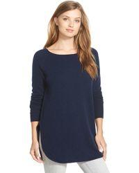 Halogen - Shirttail Wool & Cashmere Boatneck Tunic - Lyst