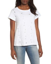 Caslon - Embroidered Overlay Swing Top (regular & Petite) - Lyst