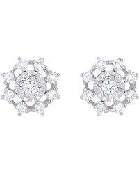 Bony Levy - 18k White Gold Diamond Flower Stack Earrings - 0.20 Ctw - Lyst
