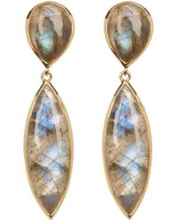 Argento Vivo - 18k Gold Plated Sterling Silver Cabochon Stone Drop Earrings - Lyst