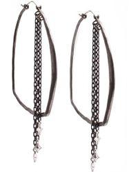 Armenta - New World Blackened Sterling Silver Hoop & Crivelli Chain Drop Earrings - Lyst