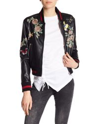 Dex - Patch And Print Detailed Faux Leather Bomber Jacket - Lyst