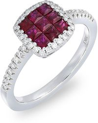 Bony Levy - 18k White Gold Invisibly Set Ruby & Diamond Band Ring - 0.22 Ctw - Lyst