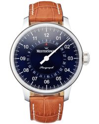 Meistersinger - 'perigraph' Automatic Leather Strap Watch, 43mm - Lyst